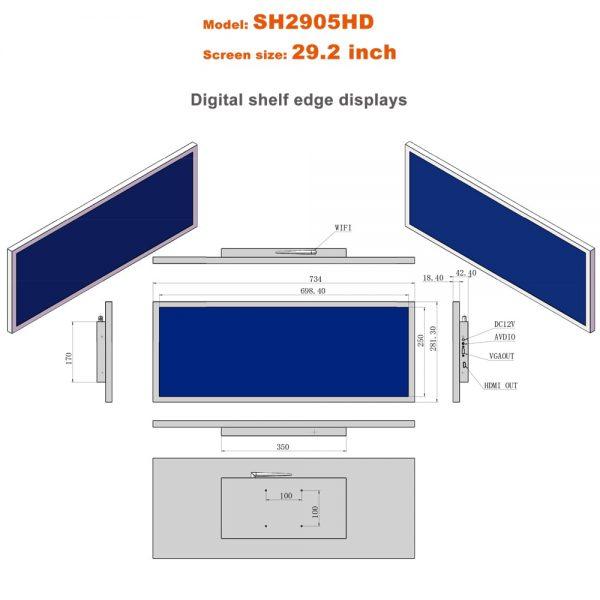 29.2inch Digital signage Stretched Lcd bar display