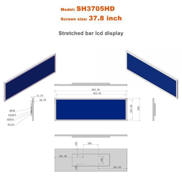 37.8inch ultra wide screen stretched lcd display smart shelf screen monitor