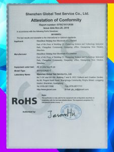 All in one touch pc RoHs attestation of conformity
