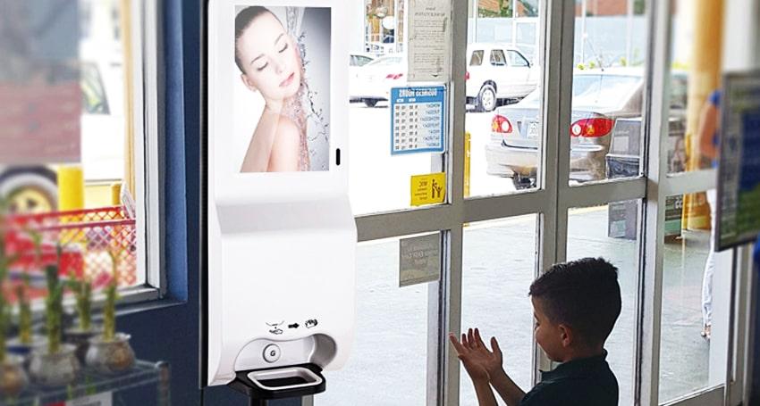digital signage hand sanitizer kiosk