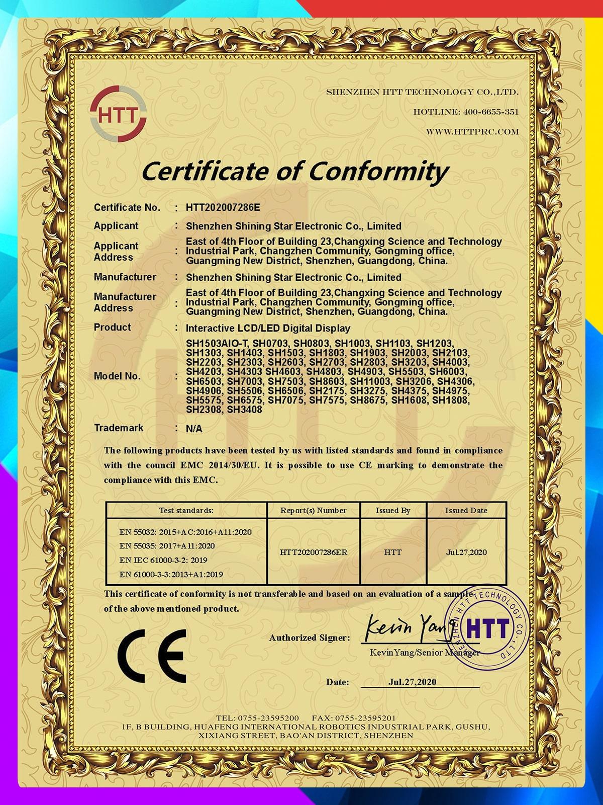 CE EMC Certificate of Conformity