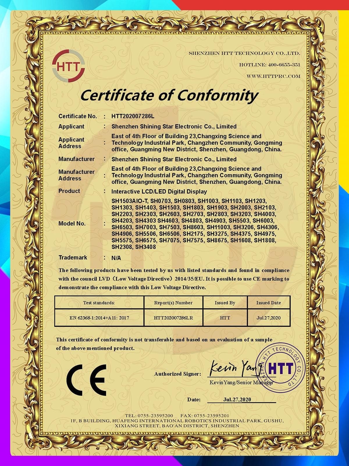 CE LVD Certificate of Conformity